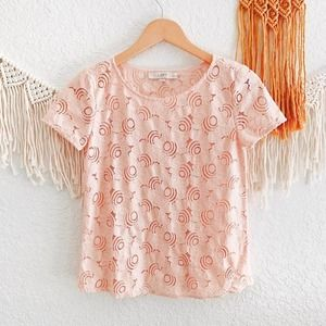 Loft Pink Floral Lace Sheer Overlay Top